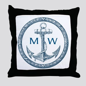 Anchor, Nautical Monogram Throw Pillow